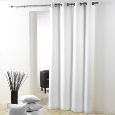 Essentiel Plain Single Curtain Panel with Plastic Eyelets - White