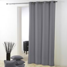 Essentiel Plain Single Curtain Panel with Plastic Eyelets - Silver Grey