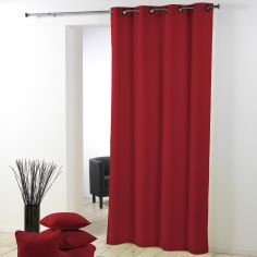 Essentiel Plain Single Curtain Panel with Plastic Eyelets - Red