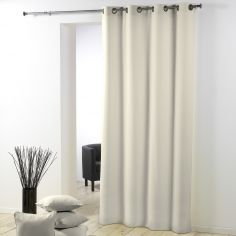 Essentiel Plain Single Curtain Panel with Plastic Eyelets - Cream