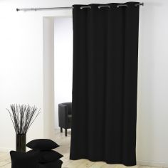Essentiel Plain Single Curtain Panel with Plastic Eyelets - Black