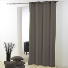 Essentiel Plain Single Curtain Panel with Plastic Eyelets - Taupe