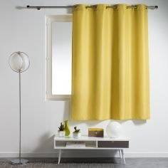 Essentiel Plain Single Curtain Panel with Plastic Eyelets - Lime Green