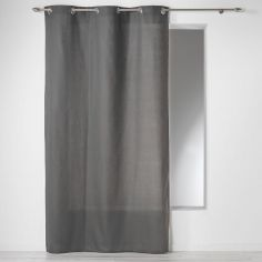 Plain 100% Cotton Panama Single Curtain Panel with Eyelets - Charcoal Grey