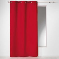 Plain 100% Cotton Panama Single Curtain Panel with Eyelets - Red