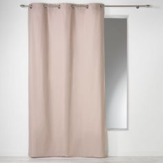 Plain 100% Cotton Panama Single Curtain Panel with Eyelets - Beige