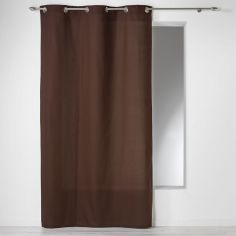 Plain 100% Cotton Panama Single Curtain Panel with Eyelets - Chocolate Brown