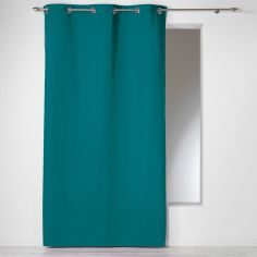 Plain 100% Cotton Panama Single Curtain Panel with Eyelets - Teal Blue