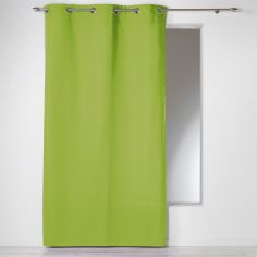 Plain 100% Cotton Panama Single Curtain Panel with Eyelets - Lime Green