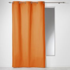 Plain 100% Cotton Panama Single Curtain Panel with Eyelets - Brick Orange