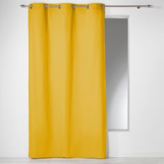 Plain 100% Cotton Panama Single Curtain Panel with Eyelets - Yellow