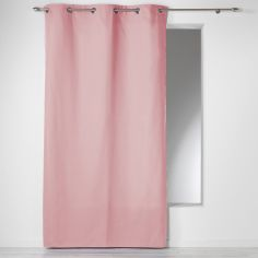 Plain 100% Cotton Panama Single Curtain Panel with Eyelets - Candy Pink