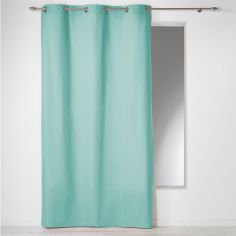 Plain 100% Cotton Panama Single Curtain Panel with Eyelets - Mint Blue