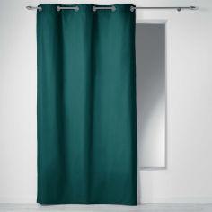 Plain 100% Cotton Panama Single Curtain Panel with Eyelets - Emerald Green
