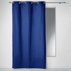Plain 100% Cotton Panama Single Curtain Panel with Eyelets - Indigo Blue