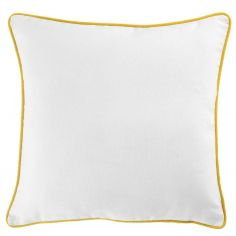 Plain 100% Cotton Panama White Cushion Cover with Yellow Piping
