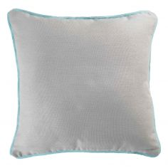 Plain 100% Cotton Panama Silver Grey Cushion Cover with Mint Blue Piping