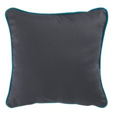 Plain 100% Cotton Panama Charcoal Grey Cushion Cover with Teal Blue Piping