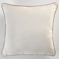 Plain 100% Cotton Panama Cream Cushion Cover with Hazelnut Brown Piping
