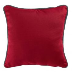 Plain 100% Cotton Panama Red Cushion Cover with Charcoal Grey Piping