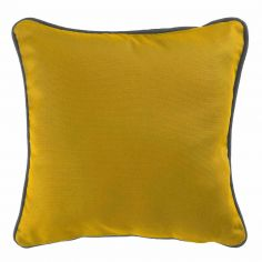 Plain 100% Cotton Panama Yellow Cushion Cover with Charcoal Grey Piping