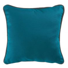 Plain 100% Cotton Panama Teal Blue Cushion Cover with Charcoal Grey Piping