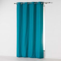 Absolu Plain Eyelet Single Curtain Voile Panel - Teal Blue