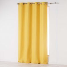 Absolu Plain Eyelet Single Curtain Voile Panel - Mustard Yellow
