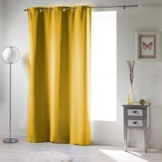 Occult Plain Blackout Eyelet Single Curtain Panel - Yellow
