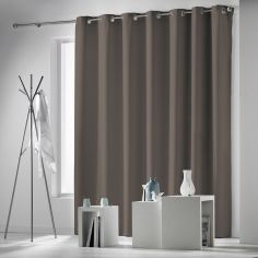 Occult Plain Blackout Eyelet Single Curtain Panel - Taupe