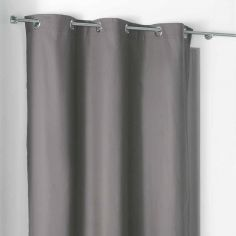 Popsys Plain 100% Cotton Eyelet Single Curtain Panel - Charcoal Grey