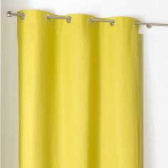 Popsys Plain 100% Cotton Eyelet Single Curtain Panel - Chartreuse Green