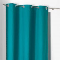 Popsys Plain 100% Cotton Eyelet Single Curtain Panel - Teal Blue