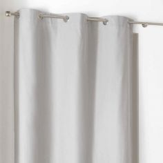 Popsys Plain 100% Cotton Eyelet Single Curtain Panel - Silver Grey