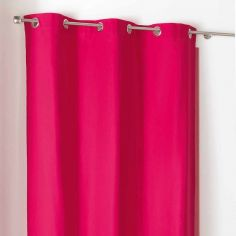 Popsys Plain 100% Cotton Eyelet Single Curtain Panel - Fuchsia Pink