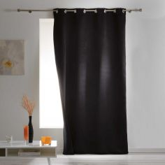 Covery Insulating Thermal Blackout Single Curtain Panel with Eyelets - Black