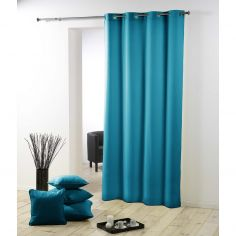 Essentiel Plain Single Curtain Panel with Metal Eyelets - Teal Blue