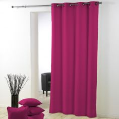 Essentiel Plain Single Curtain Panel with Metal Eyelets - Fuchsia Pink
