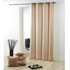Essentiel Plain Single Curtain Panel with Metal Eyelets - Beige