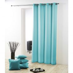 Essentiel Plain Single Curtain Panel with Metal Eyelets - Mint Blue