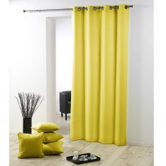 Essentiel Plain Single Curtain Panel with Metal Eyelets - Lime Green