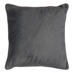 Romantic Plain Velvet Cushion with Piping - Charcoal Grey