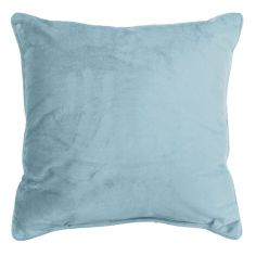 Romantic Plain Velvet Cushion with Piping - Sky Blue