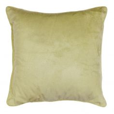 Romantic Plain Velvet Cushion with Piping - Lime Green