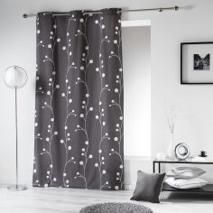 Clochettes Printed Cotton Single Curtain Panel with Eyelets - Charcoal Grey