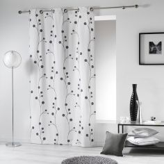 Clochettes Printed Cotton Single Curtain Panel with Eyelets - White