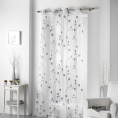 Clochettes Printed Eyelet Voile Panel - Charcoal Grey