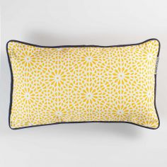 Tunis Geometric 100% Cotton Cushion with Piping - Yellow