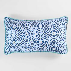 Tunis Geometric 100% Cotton Cushion with Piping - Indigo Blue