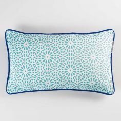 Tunis Geometric 100% Cotton Cushion with Piping - Mint Blue